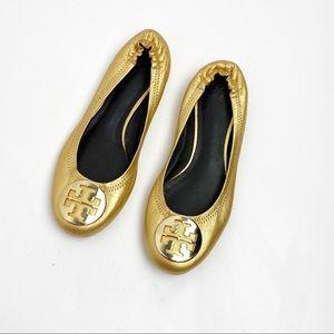 Tory Burch Gold Minnie Ballet Flats